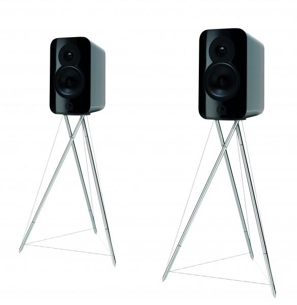 Q Acoustics Concept 300 schwarz walnuss Paarpreis mit Ständer